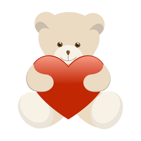 Valentine's Day Teddy Bear holding a heart. Stock Vector - 6142019
