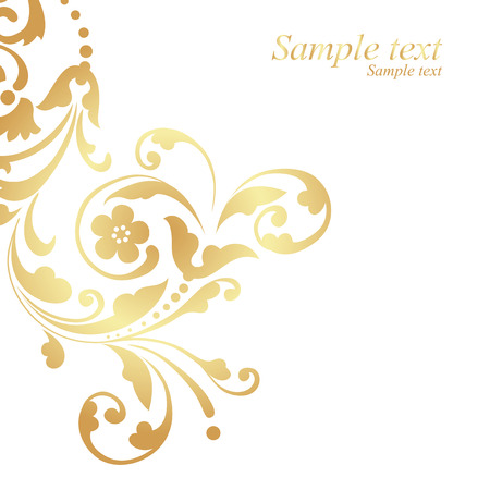 contemporary: Gold floral design on white background.