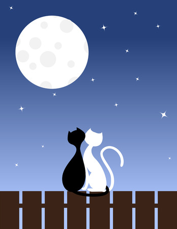 Two enamoured cats sit on a fence.  Vector