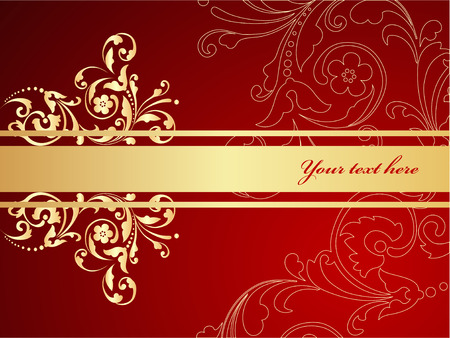 Elegant red and gold background.  Vector