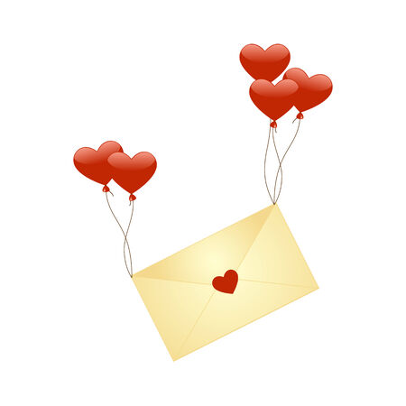 sender: A romantic illustration of a letter which is sent to a very special someone Illustration