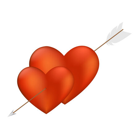 lovestruck: Two Hearts with Arrow isolated on a white background.