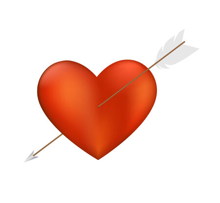 lovestruck: Heart with Arrow isolated on a white background. Illustration