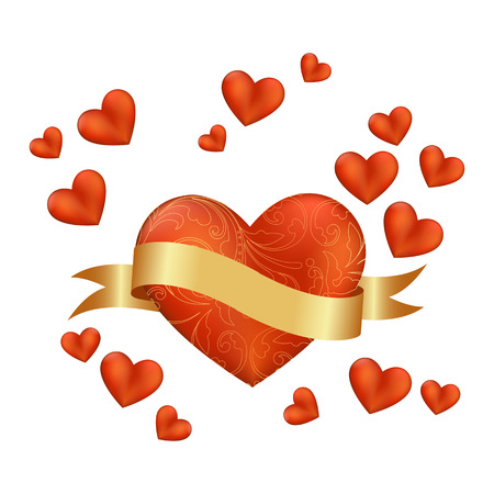 Red heart on a white background. Vector