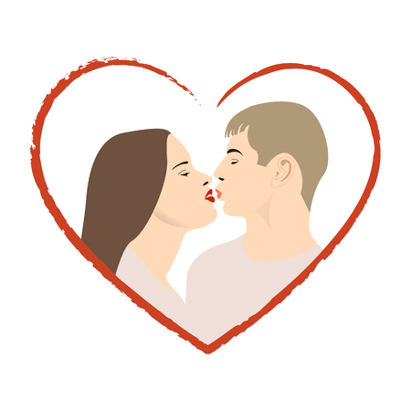 Illustration of two lovers kissing excellent for valentine. Vector illustration.