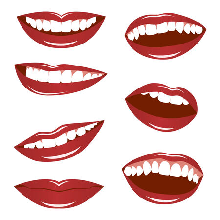 Set smiling female lips isolated on a white background. Illustration