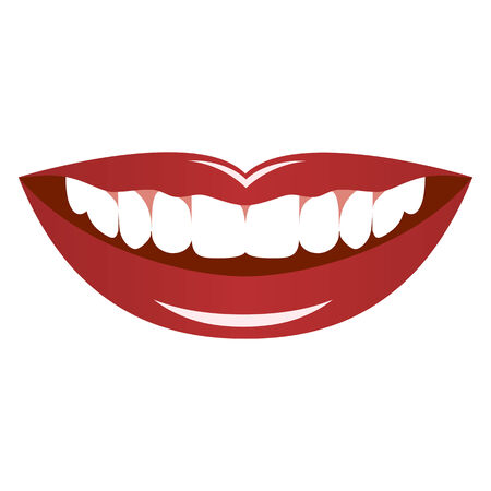 Smiling female lips isolated on a white background.