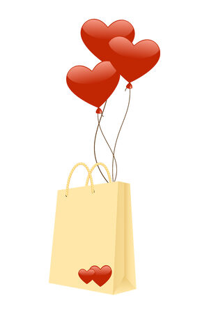 Gift package with red balloons.  Vector