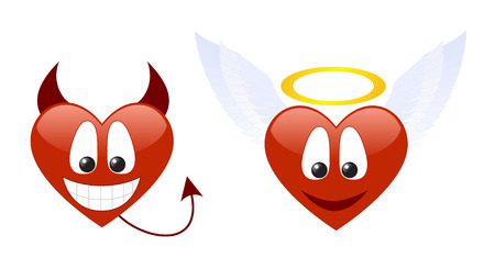 Two hearts characters isolated on a white background.  Vector