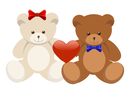 Valentine's Day two Teddy Bears holding a heart. Stock Vector - 6142110