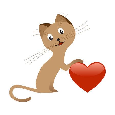 Gatito marrón con corazón rojo.  Foto de archivo - 6142021