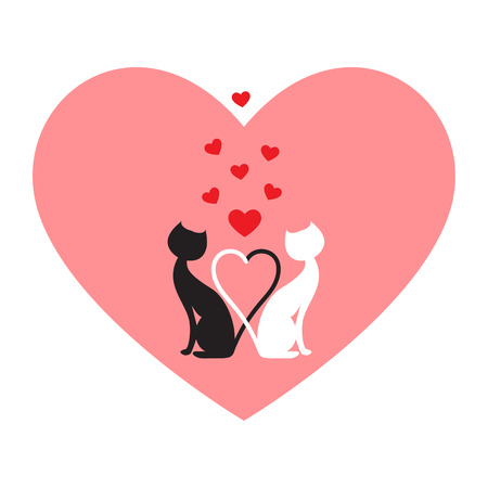 Black cat and white cat, side by side in pink heart Vector