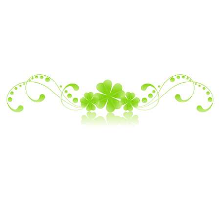 green floral pattern with clover leafs isolated on white background Stock Vector - 6175980