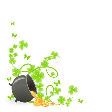 irish: St. Patricks pattern corner with green shamrock vignette and pot of gold