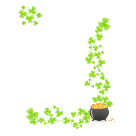 St. Patrick's pattern corner with green shamrock vignette and pot of gold Stock Vector - 6176054