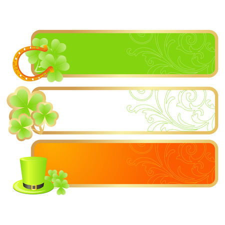 Banners for St. Patricks day in Irish flag colors and holiday symbols - Leprechaun hat, pot of gold and horseshoe