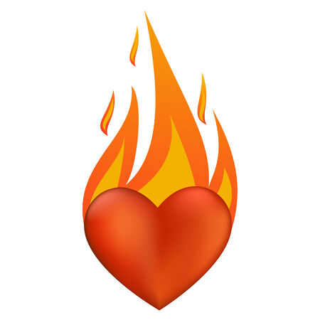 flaming heart: Vector illustration with flaming heart at fire Illustration