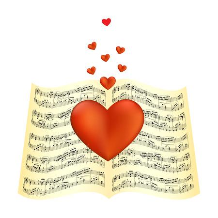 note musicali: Cuore posa sulla figura di spartiti