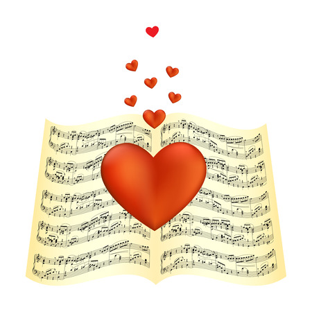 red sheet: Heart laying on sheet music  illustration
