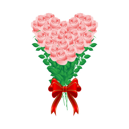 Bouquet of pink roses shaped like a heart Stock Vector - 16297957