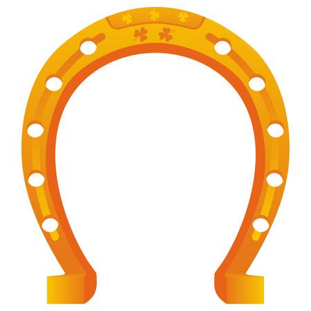 golden horseshoe: lucky golden horseshoe with shamrock isolated on white background