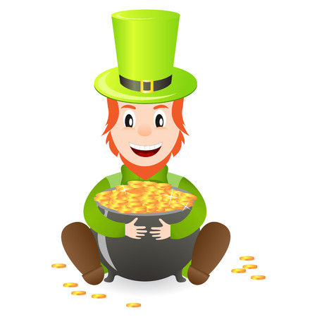 cheerful leprechaun with treasure isolated on white background Stock Vector - 16297958
