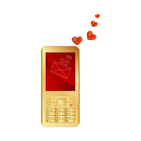 Phone and hearts isolated on a white background  Vector illustration Stock Vector - 16297960