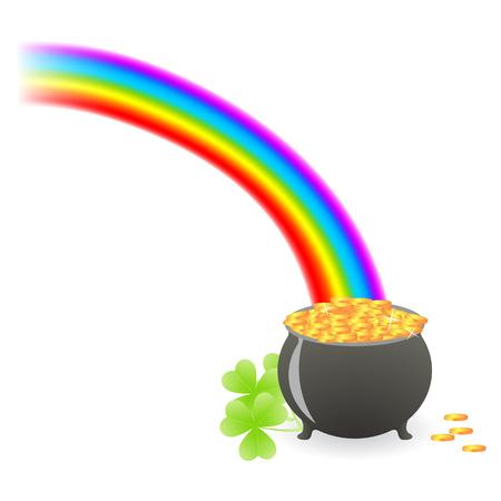leprechaun treasure cauldron with rainbow and shamrock leafs Vector