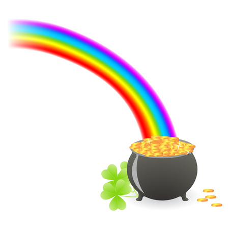 pot of gold: leprechaun treasure cauldron with rainbow and shamrock leafs