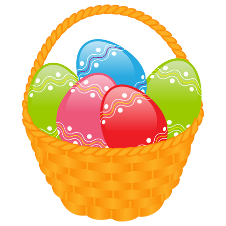 boiled eggs: Easter symbols: yellow basket with colored eggs. Isolated on white background.  Illustration