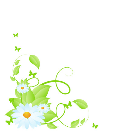 chamomile: Green floral corner pattern with chamomile blossom. Isolated on white background.