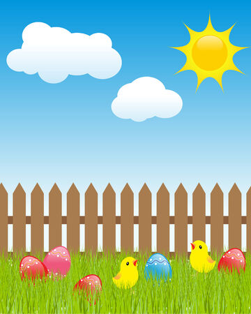 Easter landscape: colored eggs in green grass, cartoon chickens, white clouds and shiny sun.  Illustration