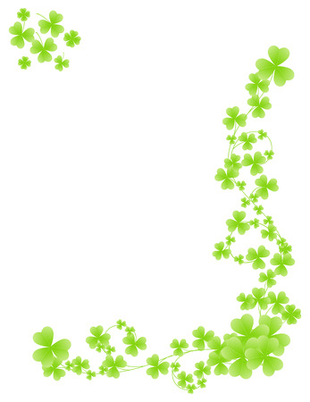 Corner shamrock pattern. Isolated on white background.