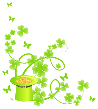 batterfly: Corner floral pattern with leprechaun treasure hat and batterfly Illustration