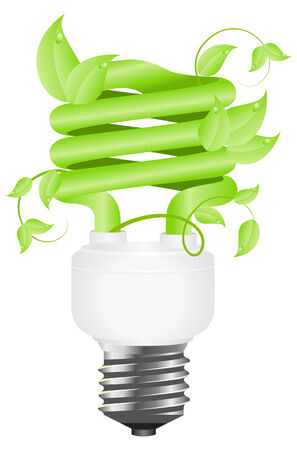 Green light floral bulb with leafs. Isolated on white background.