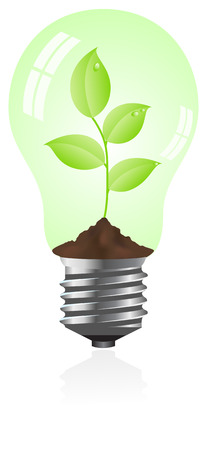 Tungsten light bulb with plant inside. Isolated on white background. Stock Vector - 6236874