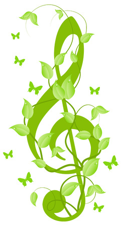 Green floral treble clef with small butterflies. Isolated on a white.  illustration Vector