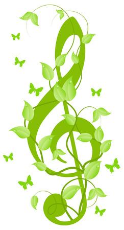 jednolitego: Zielony floral tony wysokie klucz z małych motyli. Samodzielnie na biały.  Ilustracja