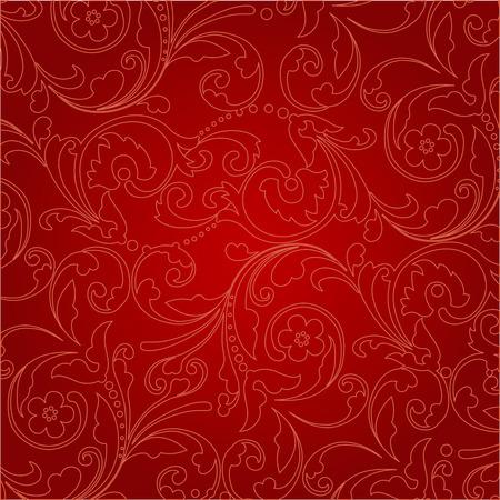 Elegante floral-patrón de fondo rojo. ilustración.