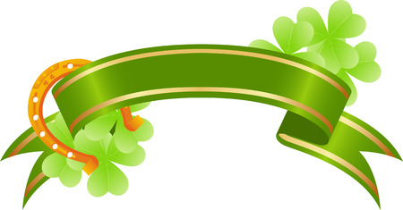 irish culture: green placard with tree-leaf clovers and golden lucky horseshoe