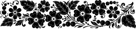 hohloma: Traditional black-and-white hohloma-style pattern, handmade. Background line. illustration. Illustration