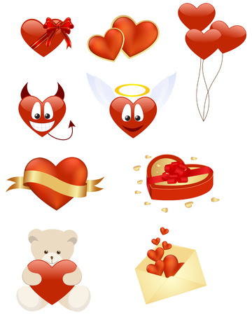 Set of romance smiley and icons. illustration. Vector