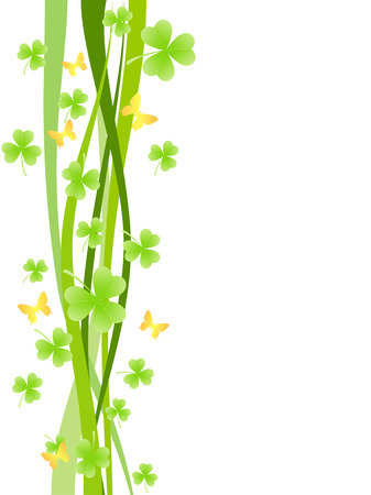 pleasant: Pleasant background with shamrock or tree-leaf clovers and waves