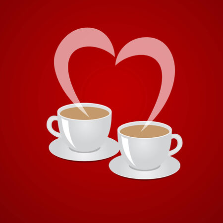 Red background with cups of coffee. illustration. Vector