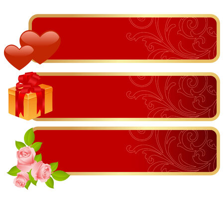 Three banners for Valentines day. illustration. Vector
