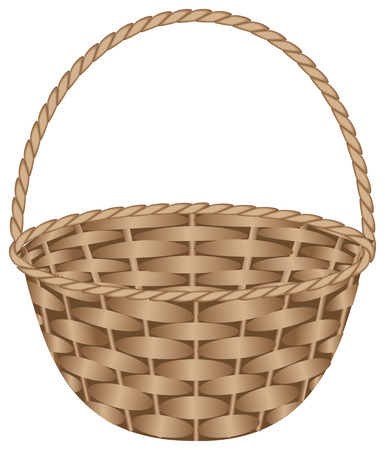 empty basket: Brown weaved basket. Vector illustration, isolated on a white Illustration