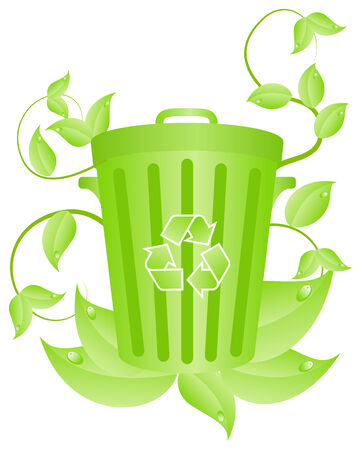 garbage tank: Green garbage tank with plants. Vector illustration, isolated on a white Illustration
