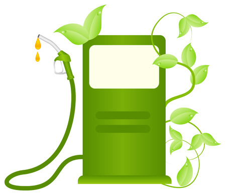 Green fuel column with plants. Ecofuel consept. Vector illustration, isolated on a white.