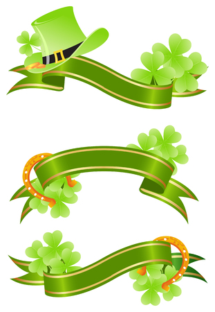 three leaf: Three green placards with tree-leaf clovers and golden lucky horseshoe