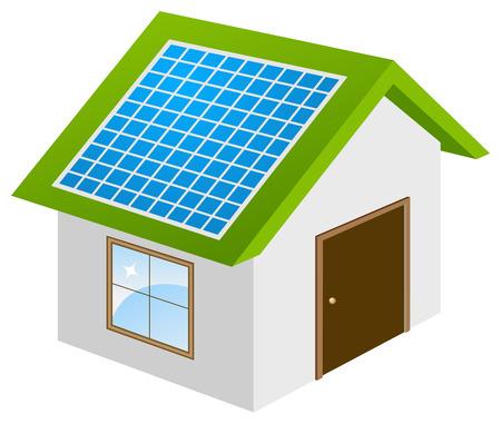 Ecohouse con el modelo 3d de paneles solares. Ilustración vectorial, aislado en un blanco.